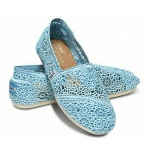 TOMS Light Blue Crochet Shoes